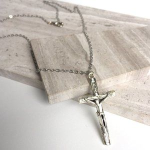 Silver Cross Crucifix Necklace — Natural Wood